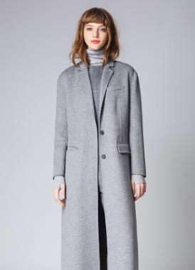 毛针织 双排扣 小翻领长外套开衫