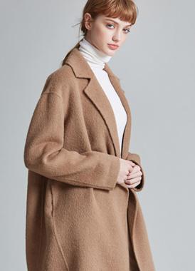 冬季宽松经典茧型中长款呢大衣